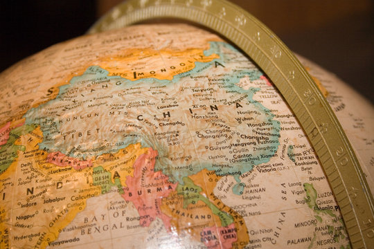 china closeup on globe