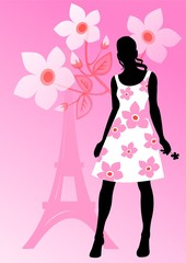 french girl on a pink background