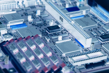 electronic circuits on a motherboard of technology