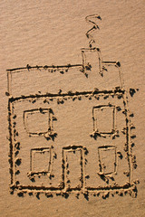 a new house.  a child's drawing of a house in the