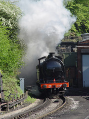 steam train through the tunnel