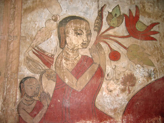 detail of a women colored painting, bagan, myanmar