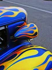 Fototapete - Blue Hotrod with Flames