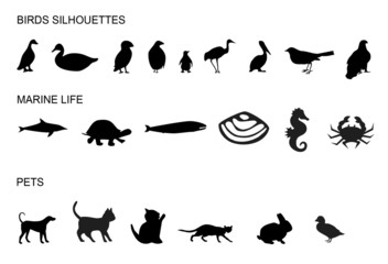 pets, birds and sea animals silhouettes