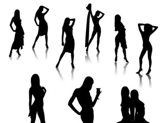 posing girl silhouettes