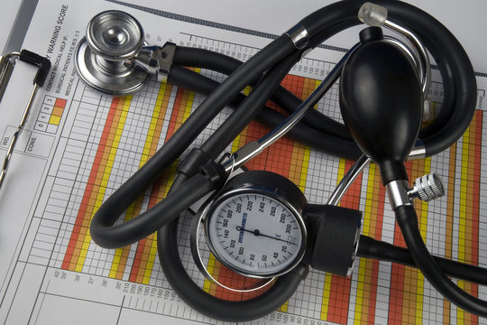 medical charts with stethoscope