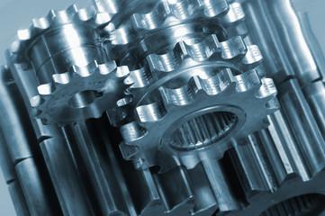 gear mechanism in metallic blue