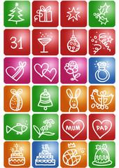 boutons fêtes année