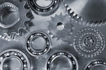 gears and bearings against steeel backdrop