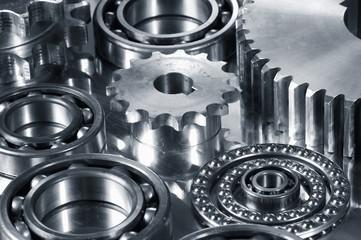 gears and bearings in dark metallic cast