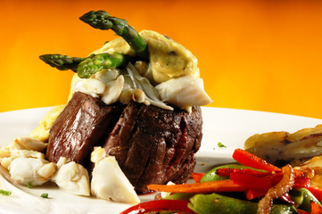 king fillet mignon oscar with crab meat