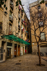 view of small street of barcelona, spain