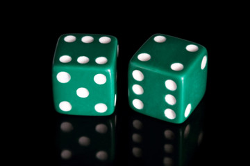 two green dice