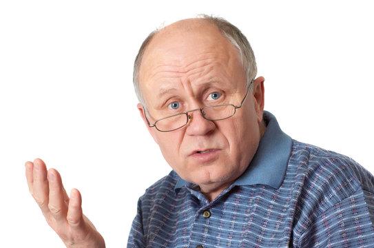 senior man arguing and gesuring