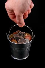 bucket of coins