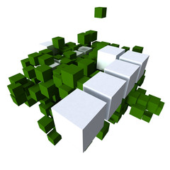 green and white cubes