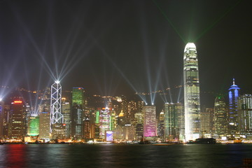 beautiful laser show, victoria harbour, hong kong