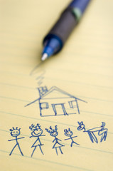 sketch of house and family.