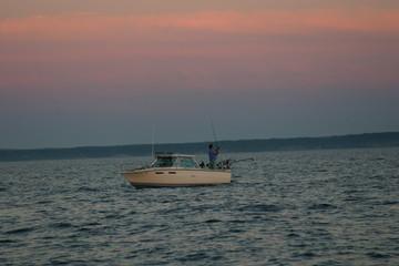 lake michigan salmon anglers in boat
