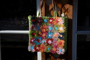 colorful daisy handbag