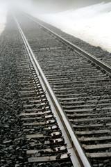 railroad tracks and fog