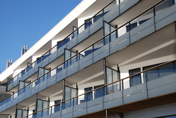 balconies of modern house