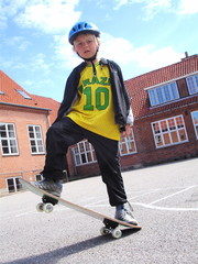 boy with his skateboard