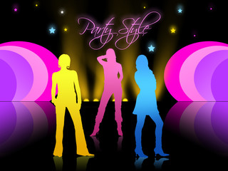 party style and girls silhouettes