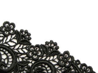 black lace on white