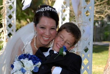 bride and son laughing