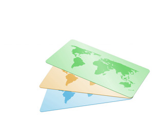 three card with world map