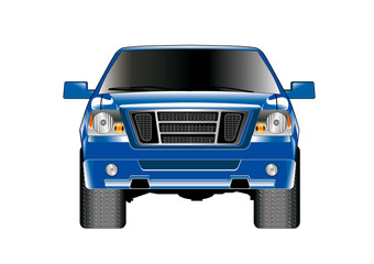 blue pickup truck front