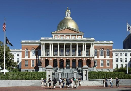 brick red house state house, Boston, Mass