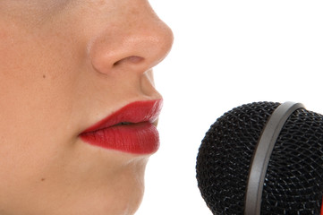 close-up microphone and lips