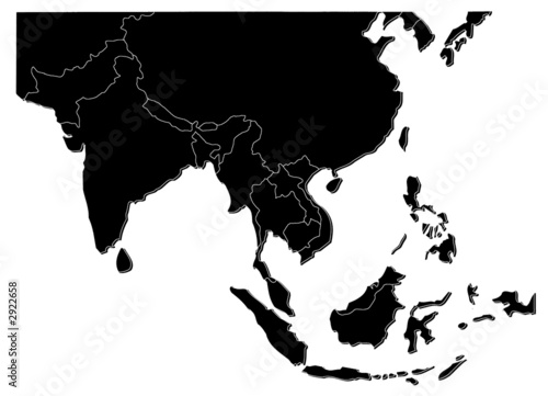 map of asia black