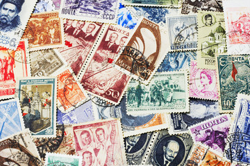 collection of soviet postal stamps