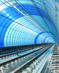 Wall Murals Tunnel blue metro - tube tunnel