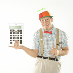 young man holding large calculator.
