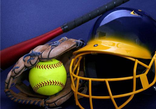 helmet, softball, glove and bat