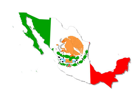 mexico map and flag