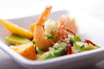 Printed kitchen splashbacks Ready meals shrimp,avocado and mango salad