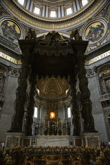 Interior of Saint Peter's Basilica, Rome, Italy.