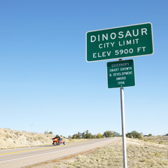 city limit sign for city of dinosaur, colorado, usa.