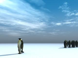 Fotorolgordijn Pinguin going my way