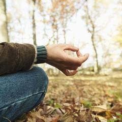 caucasian man meditating.