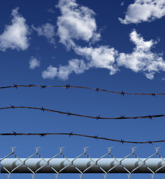 chainlink barbed wire illustration