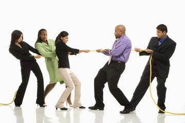 businesswomen playing tug of war against businessmen.