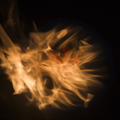 maple leaf in flames.