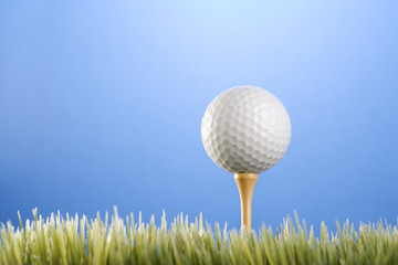 golfball on a tee in grass.
