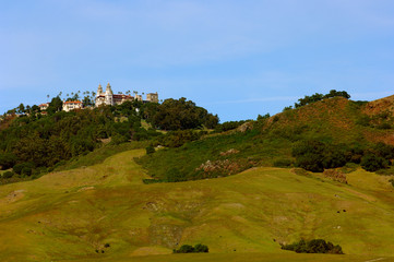 hearst castle viewed from highway 1 in central cal